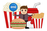 Fast Food Offer & Sale - Cartoon Business Vector Character — Stock Vector