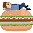 Man on Burger - Cartoon Business Vector Character — Stock Vector