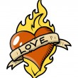 Retro Love Tattoo with Heart, Flame and Vintage Banner - Vector Illustration — Stock vektor