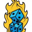 Dice in Fire - Casino Lover Tattoo Concept - Vector Illustration — Stock Vector