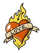 Retro aşk dövme kalp, alev ve vintage banner - vektör çizim — Stok Vektör