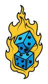Dobbelstenen in brand - casino minnaar tatoeage concept - vectorillustratie — Vector de stock