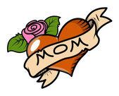 Me encanta la ilustración de mamá - retro tattoo - vector — Vector de stock