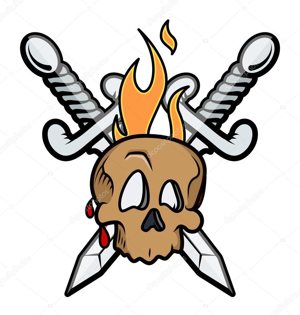 Tatuagem de caveira com espadas cruzadas e flama for Crossed swords tattoo
