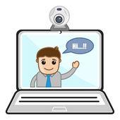 Video Chat - Business Cartoons Vectors — Stock Vector