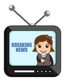 News Reporter Over TV - Business Cartoons Vectors — Stock Vector