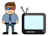 3D Smart TV - Business Cartoons Vectors — Stock Vector