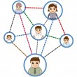 Stock vektor: People Connected in Network - Business Cartoon Characters Vector