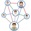 People Connected in Network - Business Cartoon Characters Vector — Wektor stockowy #29644491