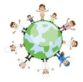 People Standing Around the Earth - Business Cartoon Characters Vector — Stock Vector