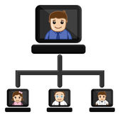 Video Conference - Business Cartoon Characters Vector — Stock Vector