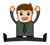 Yoga in Office - Business Cartoon Character Vector — Stock Vector
