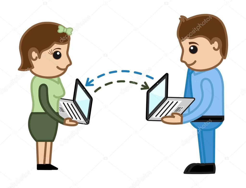 Data Transfer Between Laptops - Business Cartoon ... Kids Not Sharing Toys