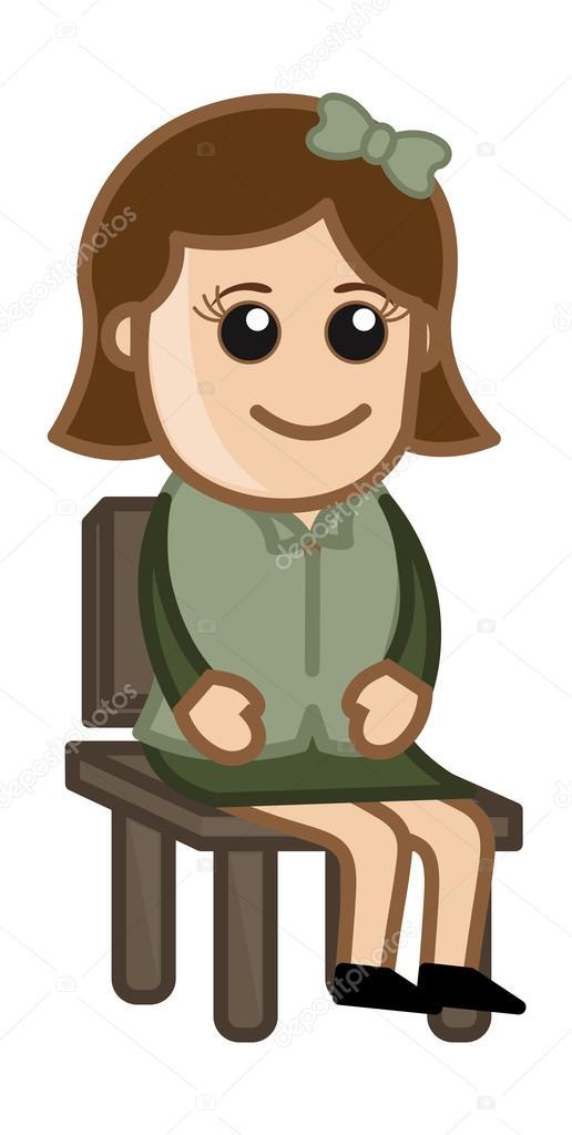 femme assise sur une chaise vecteur de personnage de dessin anim affaires image vectorielle. Black Bedroom Furniture Sets. Home Design Ideas