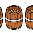 Old Wooden Coin Container - Vector Cartoon Illustration — Stock Vector