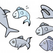 Fish Set - Vector Cartoon Illustration — Stock Vector