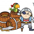 Vecteur: Pirate Captain with Treasure and Parrot - Vector Cartoon Illustration
