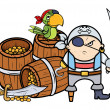 Vector de stock : Pirate Captain with Treasure and Parrot - Vector Cartoon Illustration