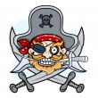 Pirate Captain Mascot - Vector Cartoon Illustration — Stock Vector