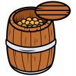 Old Wood Barrel Filled with Gold Coins - Vector Cartoon Illustration — Stock Vector