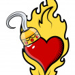 Vector de stock : Burning Heart Tattoo with Pirate Hook - Vector Cartoon Illustration