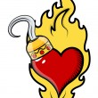 Stock vektor: Burning Heart Tattoo with Pirate Hook - Vector Cartoon Illustration