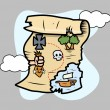Treasure Island Map - Vector Cartoon Illustration — Vecteur #29801117