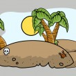 Stockvector : Tropical Pirate Island - Vector Cartoon Illustration
