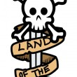 Land of Pirates Banner Sword and Skull - Vector Cartoon Illustration — 图库矢量图片 #29806281