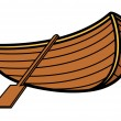 Old Vintage Wooden Boat - Vector Cartoon Illustration — Stock Vector