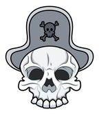 Pirate eye herstelde tatoeage schedel — Stockvector