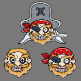 Evil Pirate Captain Laughing - Vector Cartoon Illustration — Stock Vector