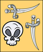 Skull Handled Sword for Pirates - Vector Cartoon Illustration — Stock Vector