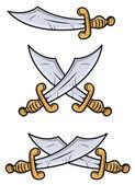 Espadas vintage - ilustración de dibujos animados vector — Vector de stock