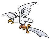 Snow Eagle Carrying Sword - Vector Cartoon Illustration — Stock Vector