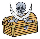 Treasure Box with Skull and Crossed Sword - Vector Cartoon Illustration — Stock Vector