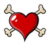Crossed Bones Heart Tattoo - Vector Cartoon Illustration — Cтоковый вектор