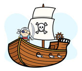 Eye Patched Captain Pirate on Pirate Ship - Vector Cartoon Illustration — Stock Vector