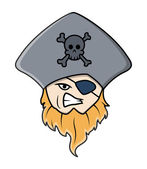 Pirate Captain with Eye Patch - Vector Cartoon Illustration — Stock Vector