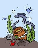 Gold Coin Barrel Under The Sea - Vector Cartoon Illustration — Stock Vector