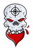 Coeur manger crâne - vector illustration de dessin animé — Vecteur