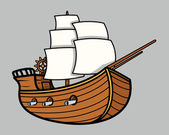 Old Vikings Vintage Ship - Vector Cartoon Illustration — Stock Vector