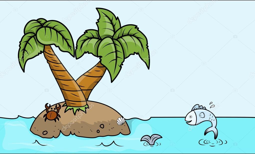 Isola di cartone animato in mare illustrazione fumetto