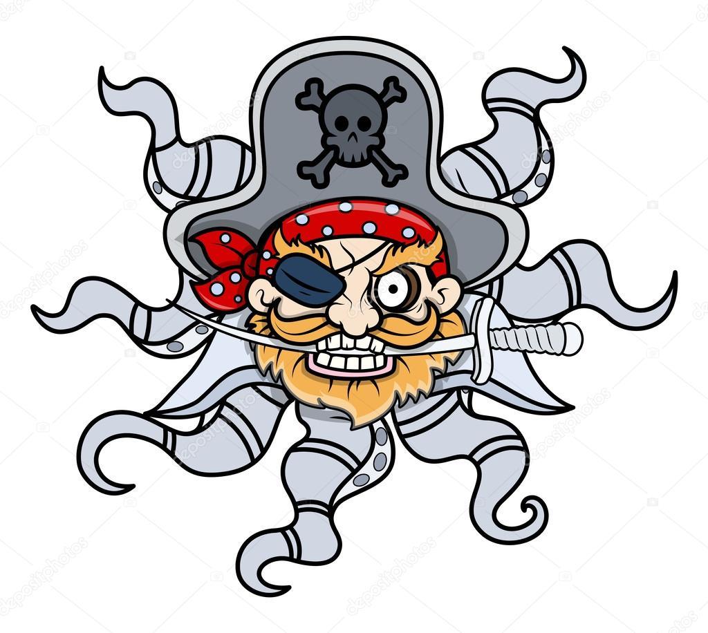 Pirate Head Vector Drawing art of cartoon creepy octopus captain ...