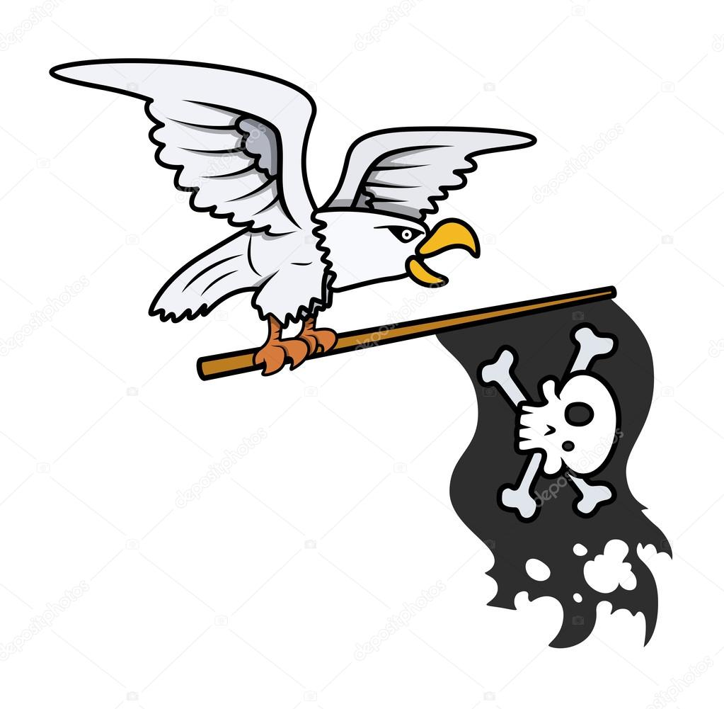 Pirate Flag Flying Clip Art Drawing art of cartoon pirate bald eagle ...