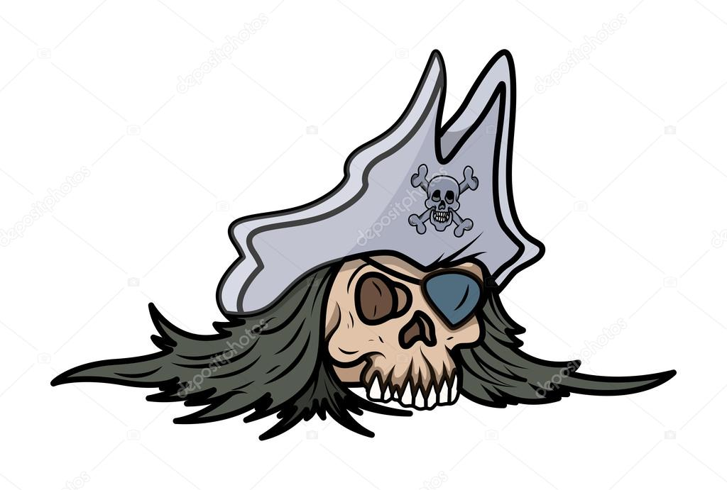 Pirate Hat Drawing Skull Head with Pirate Hat