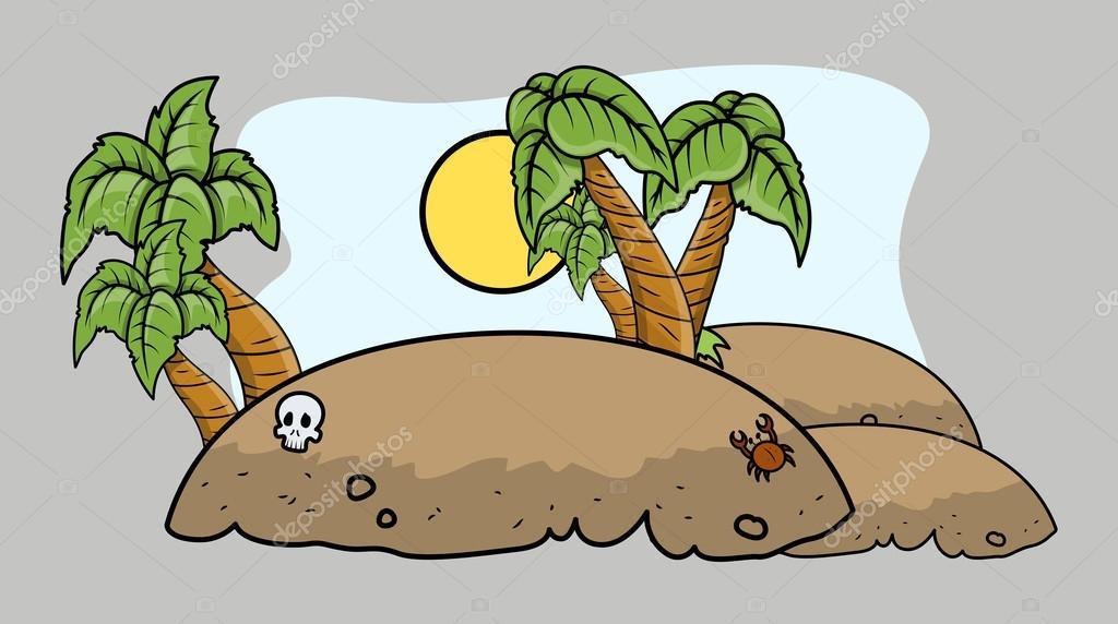 Tropical Island Cartoon: Vector Cartoon Illustration