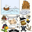 Pirates Elements Vector Set - Treasure Hunt — Stockvektor