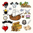 Pirate Vector Illustration Set — Stock Vector