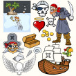 Pirates Vector Illustrations Set — Stock Vector